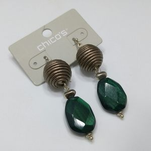 Chico's Bronze and Green Lucite Drop Bead Earrings